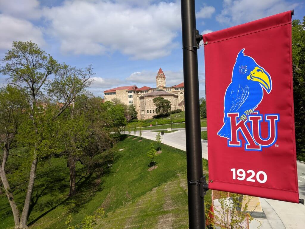Outdoor pole banner of the KU Mascot in 1920