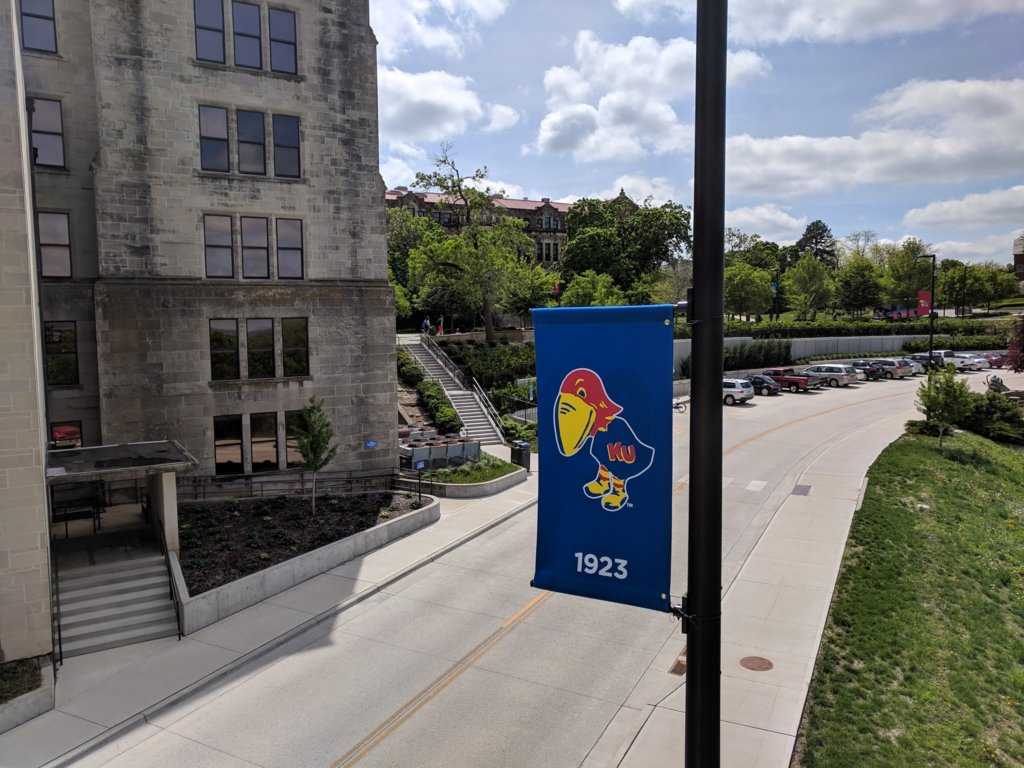 Outdoor pole banner of the KU Mascot in 1923