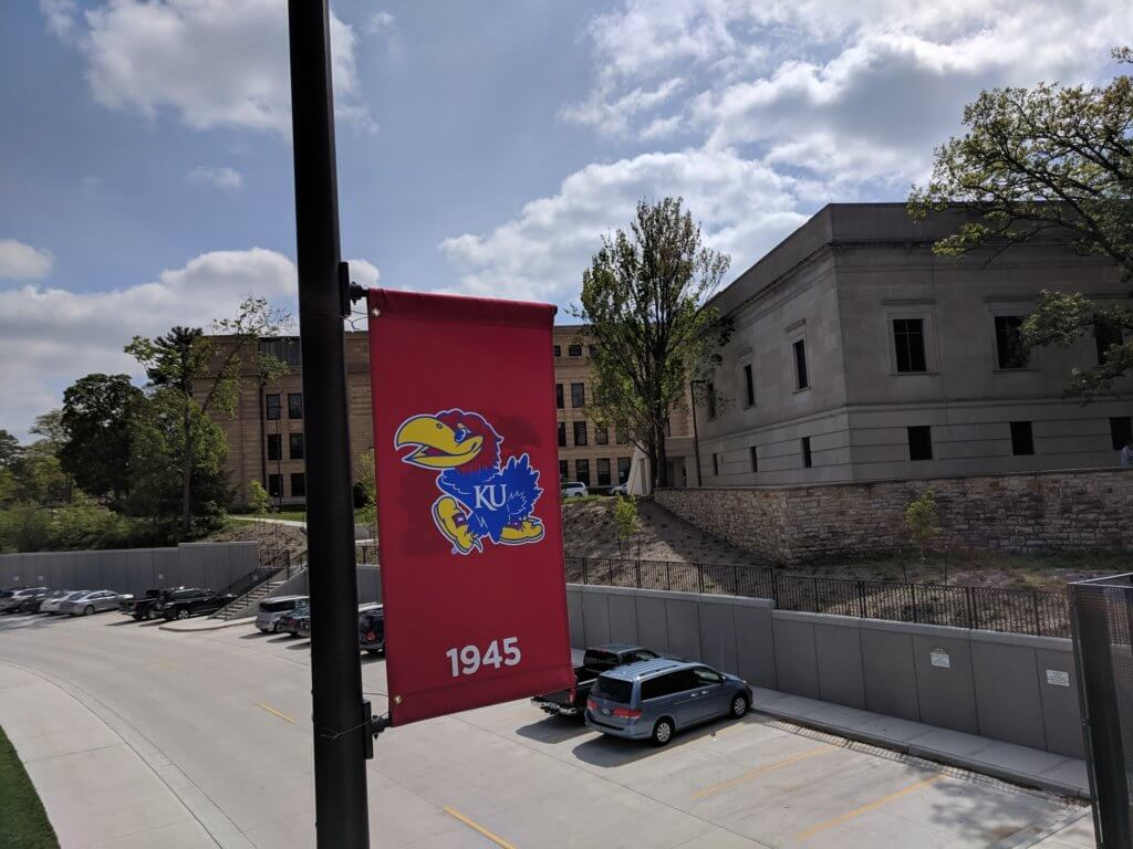 Outdoor pole banner of the KU Mascot in 1945
