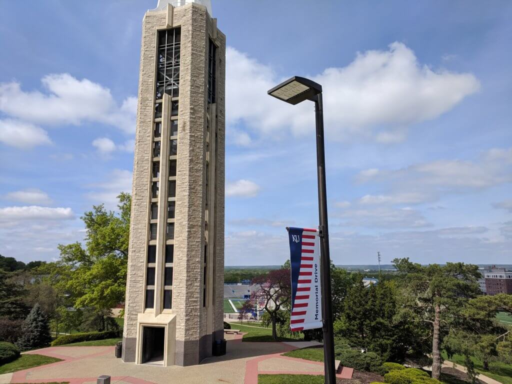 Outdoor pole banner at the Kansas University campus