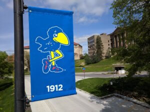 Outdoor pole banner of the KU Mascot in 1912